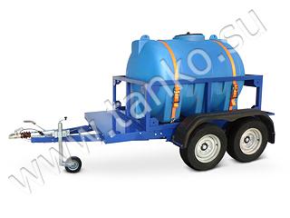 Емкость пластиковая 2000 литров на прицепе с тормозами