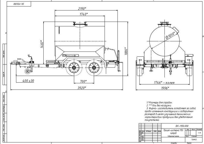 Габариты прицепа с бочкой 1150 литров на двухосном шасси