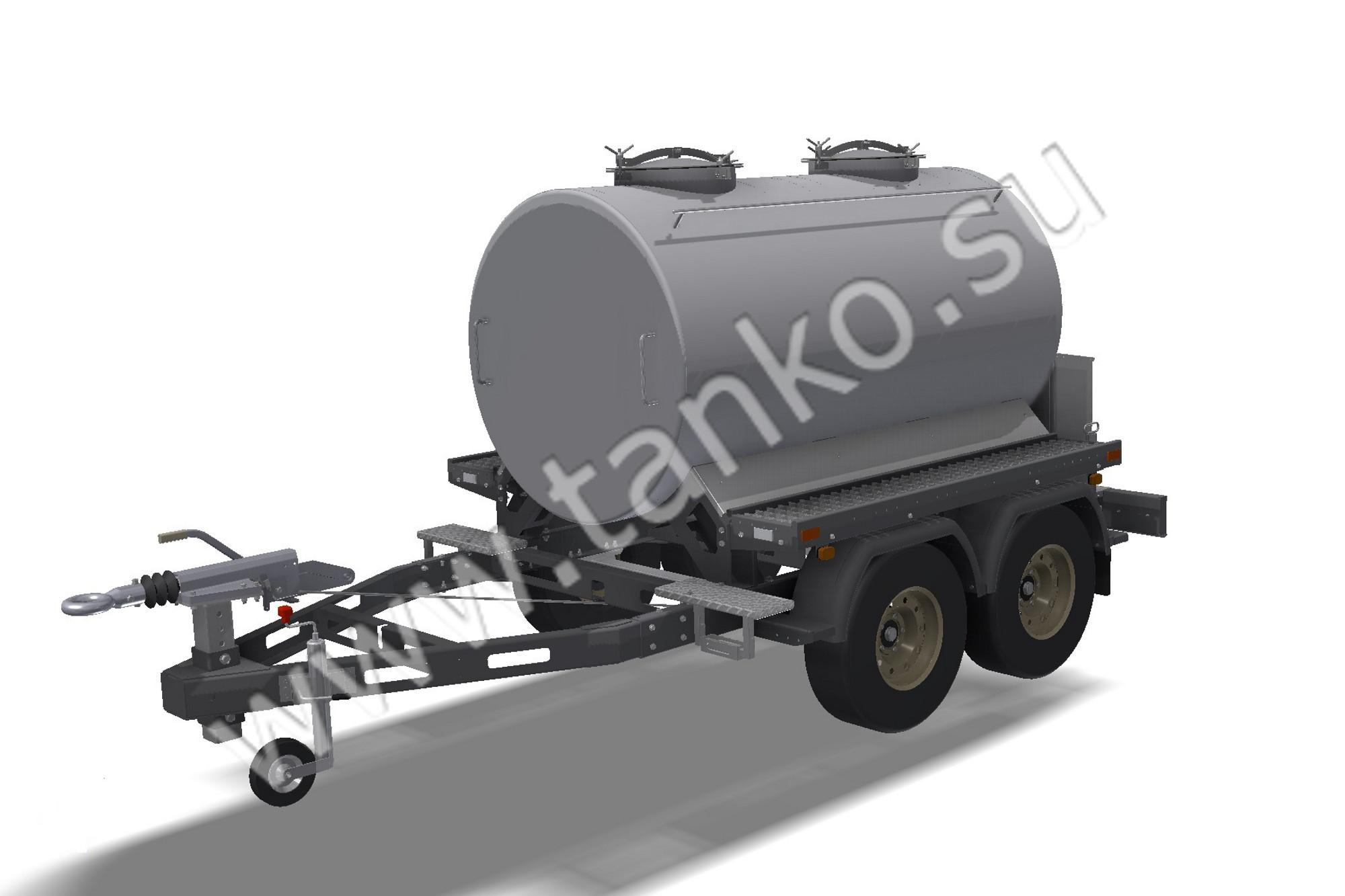 Двухсекционная цистерна на прицепе, прицеп-цистерна молочная, 2000 литров